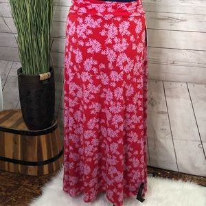 LuLaRoe maxi skirt red w pink floral szS NWT